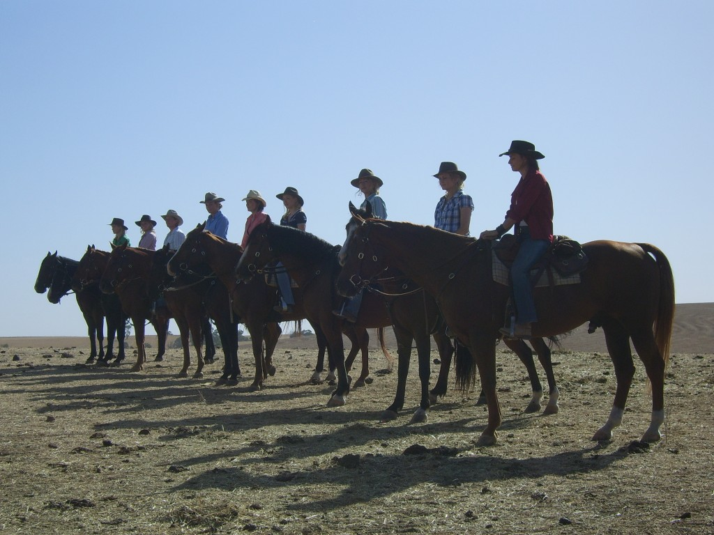 The final shot on McLeods Daughters - all the women ride off together